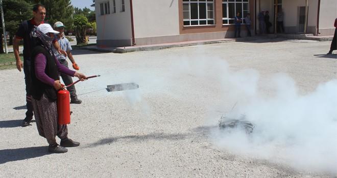 Karapınar'da yangın  tatbikat eğitimi
