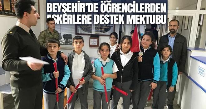Beyşehir'de öğrencilerden askerlere destek mektubu