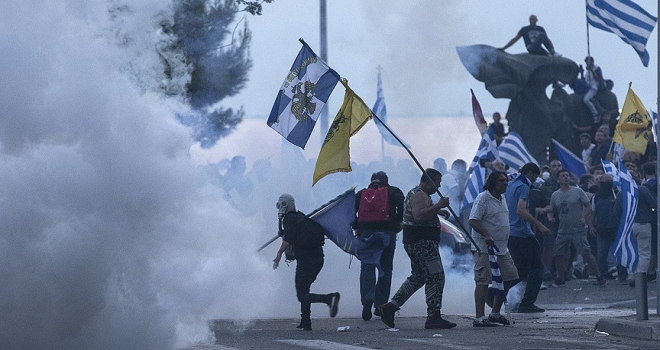 Yunanistanda olaylı Makedonya gösterisi