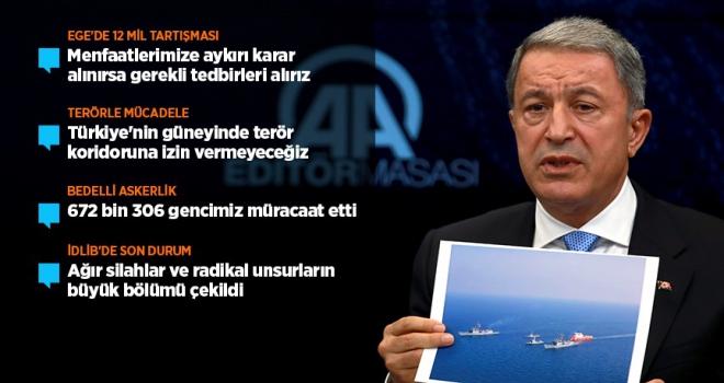 Milli Savunma Bakanı Akar: Doğu Akdenizde yeni bir tacize asla müsaade etmeyeceğiz