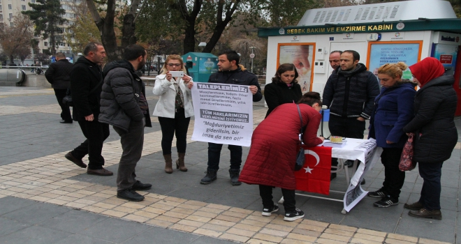 Market çalışanlarından eylem