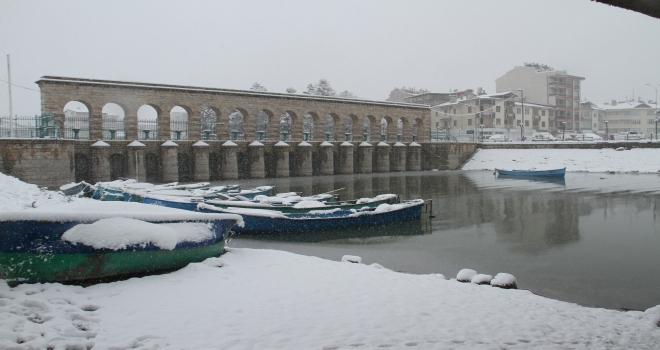 Beyşehirde kar yağışı