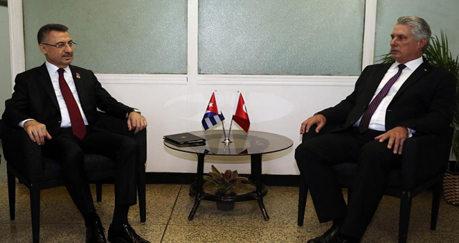 Cumhurbaşkanı Yardımcısı Oktay, Küba Devlet Başkanı Canel ile görüştü