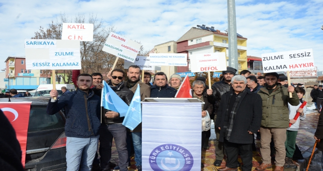 Sarıkayada Doğu Türkistan için yürüyüş düzenlendi