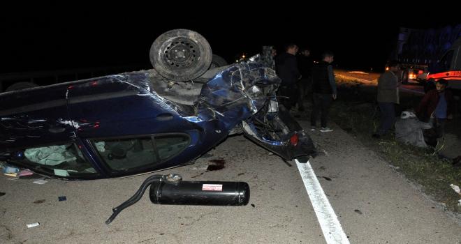 Kırıkkalede otomobil devrildi: 1 ölü, 4 yaralı