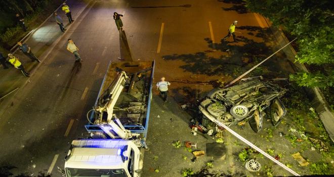 Başkentte otomobil köprüden düştü: 1 ölü, 2 yaralı