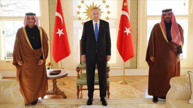 Erdoğan, Katar Dışişleri Bakanı Al Sani'yi kabul etti