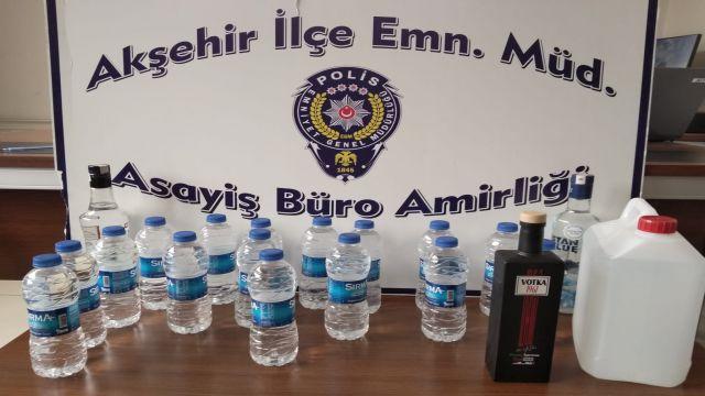Akşehir'de sahte içki üretilen eve baskın