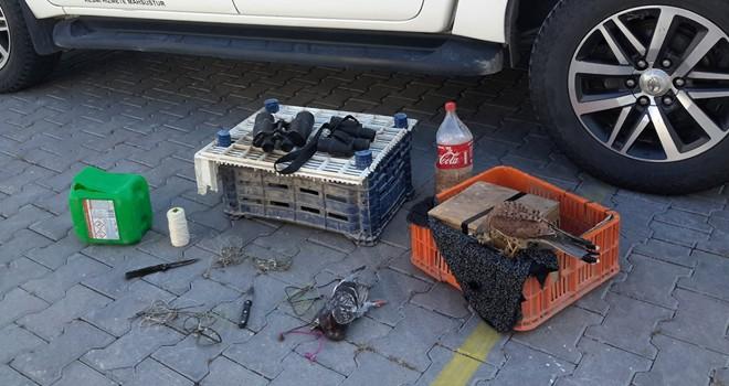 Tuzak kurarak şahin avı yapan avcılar yakalandı