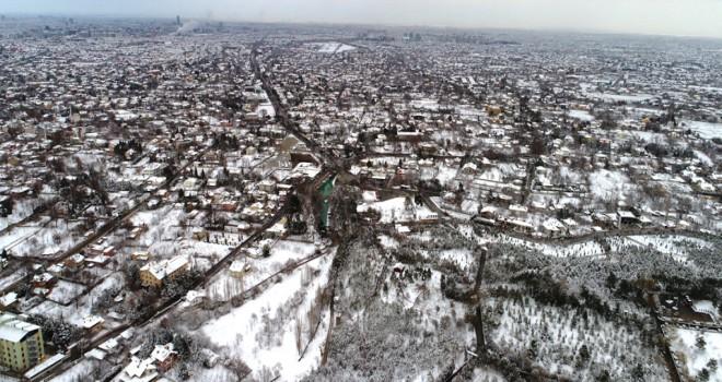 Havadan karlı Konya