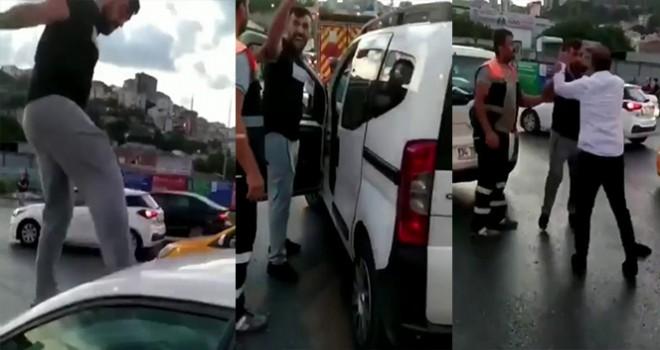 Trafikte kadına dehşeti yaşattı