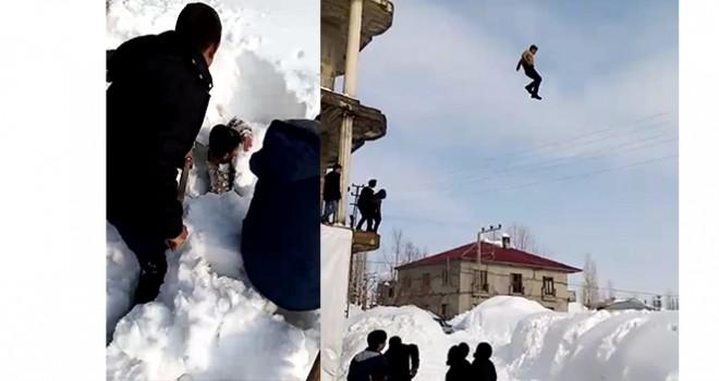 Çocukların tehlikeli kar oyunu
