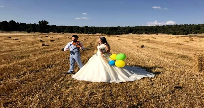 Buğday tarlaları  fotoğraf stüdyosu oldu